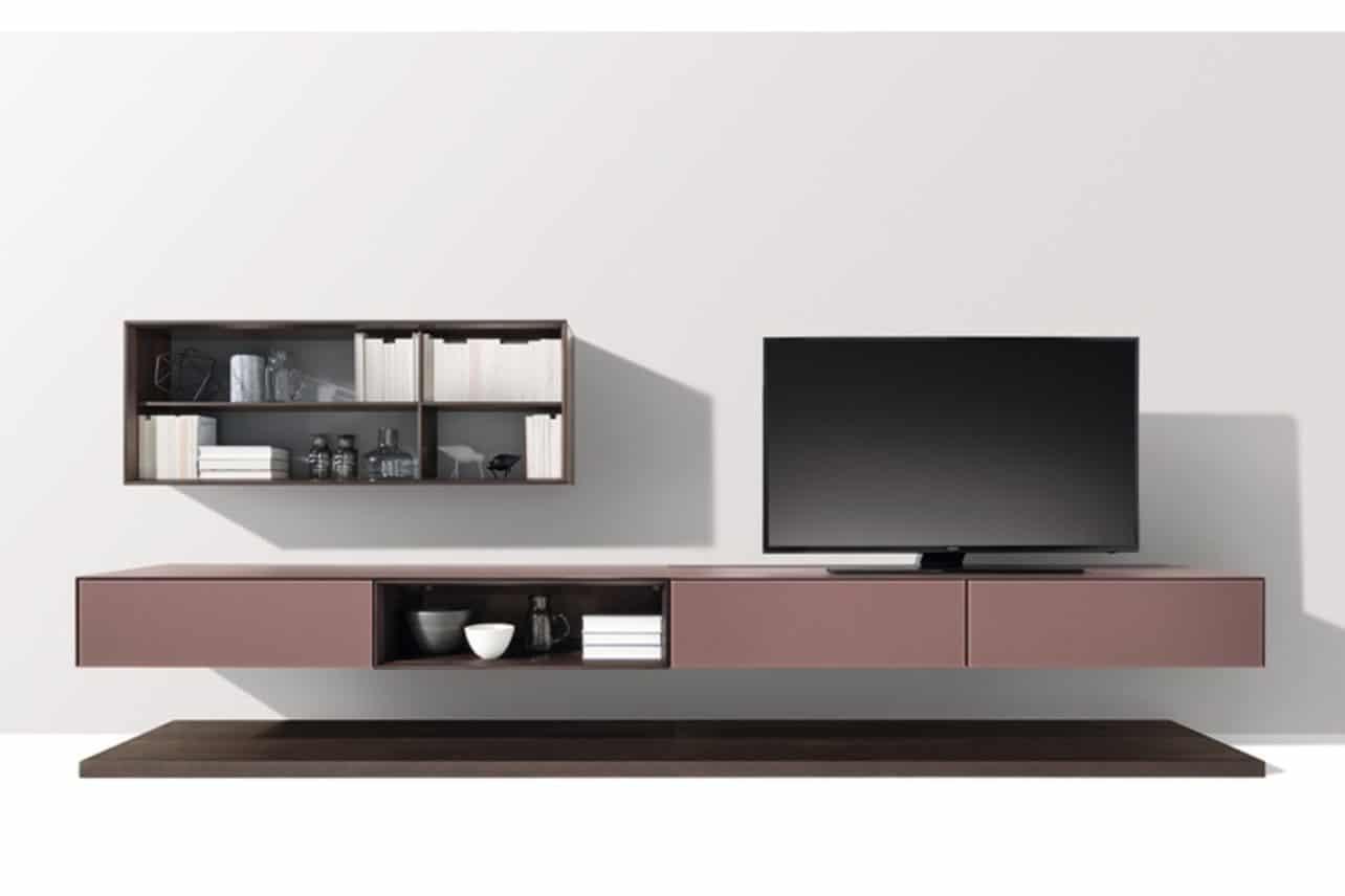 Cubus Pure die moderne Wohnwand in Eiche Mokka und Farbglas mit Lowboard und Hängeregal