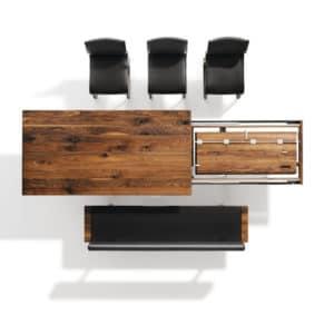Nox Tisch mit Metallkufen in Nussbaum wild mit Nox Bank. Auszugsmechanismus des Tisch Nox in Nussbaum wild. (2)